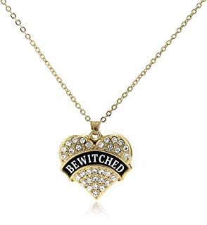 Gold Pave Heart Charm 18 Inch Necklace with Cubic Zirconia Jewelry