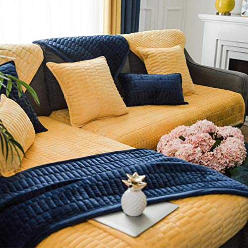 hoekbank hoes, vier seizoenen universeel kristal fluwelen bankkussen, antislip sofa hoes-yellow_90 * 210cm, elastische meubelbeschermer