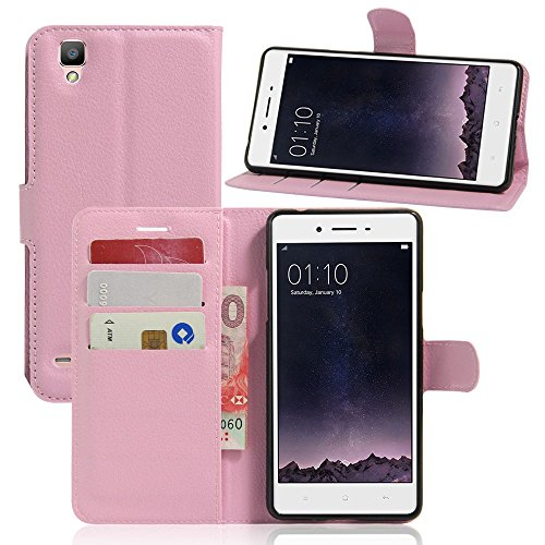 Tasche für OPPO F1 (5 zoll) / OPPO A35 Hülle, Ycloud PU Ledertasche Flip Cover Wallet Hülle Handyhülle mit Stand Function Credit Card Slots Bookstyle Purse Design rosa