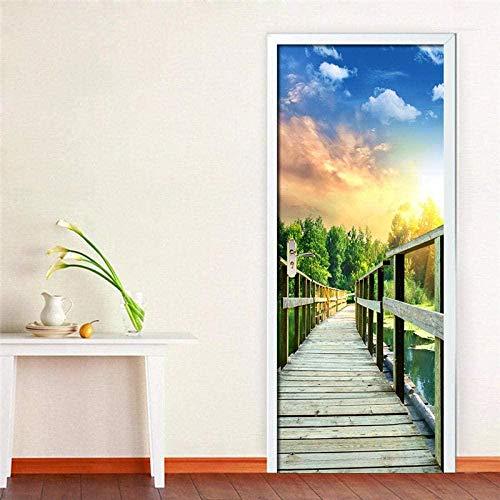 PVC self-adhesive door sticker 3D wood bridge decal mural wallpaper living room bedroom door decoration Paper De Parede 3D-95X215CM-77X200