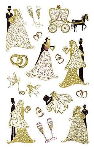 Avery 55176 decoración, los recién casados de la boda, pasta de papel de alta calidad con el oro en relieve, 1 arco, 15 Etiqueta