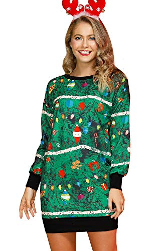 Womens Xmas Graphic Printed Christmas Tree Crewneck Tunic Casual Funny Long Sleeve Shirt Dress L