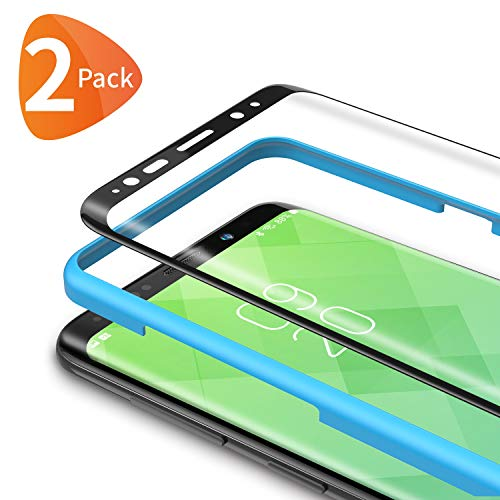 Bewahly Panzerglas Schutzfolie für Samsung Galaxy S8 [2 Stück], 3D Curved Full Cover Panzerglasfolie Ultra Dünn HD Bildschirmschutzfolie 9H Festigkeit Folie mit Installation Werkzeug für Samsung S8 - Schwarz