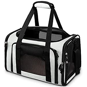 Comsmart Cat Carrier, Pet Carrier Airline Approved Pet Carrier Bag Collapsible 15 Lbs Dog Carrier for Small Medium Cats Dogs Puppies Kitten – Grey