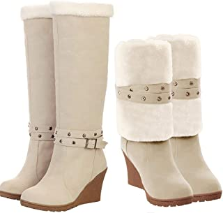 2f6e49067542 SNIDEL Womens Fashion Round Toe Fully Fur Lined Wedge Heel Foldable Cuff  Winter Knee High Boots