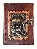 Tagebuch mit großem Totenkopf-Anhänger und Knochen aus echtem Leder, Braun