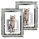 5x7 Glass Picture Frame Sparkle Mirror Edge Photo Frame for Tabletop Set of 2