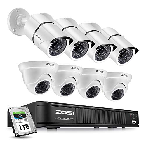 ZOSI Security Camera System 8 Channel,1080p Lite Surveillance DVR Recorder with Hard Drive 1TB and (8) 720p Weatherproof CCTV Camera Outdoor/Indoor,Remote Access and Motion Detection