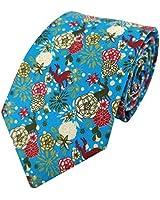 Men's Floral Print Ties Reindeer Blooms Cotton Necktie, Cyan