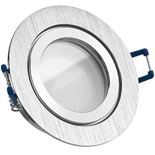 IP44 LED Einbaustrahler Set Bicolor (chrom / gebürstet) mit LED GU10 Markenstrahler von LEDANDO - 5W - warmweiss - 120° Abstrahlwinkel - Feuchtraum / Badezimmer - 35W Ersatz - A+ - LED Spot 5 Watt - Einbauleuchte rund