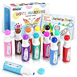 Dot Markers Kit, Ohuhu 12 Colors Paint Marker (40 ml, 1.41 oz.) with a 30 Pages Activity Book, Water-Based Non-Toxic Bingo Daubers for Kids Children (3 Ages +), Dot Art Markers Christmas