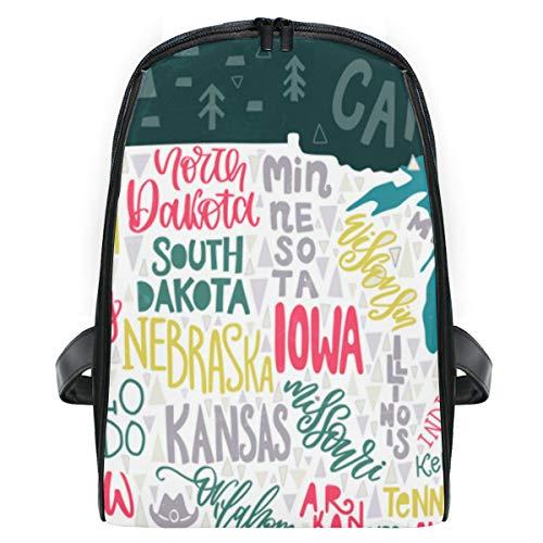 ELIENONO USA-Karten-Zustands-bildhaftes geographisches Plakat,Laptop Rucksack für Männer Schulrucksack Multifunktionsrucksack Mini Tagesrucksack für Schule Wandern Reisen Camping