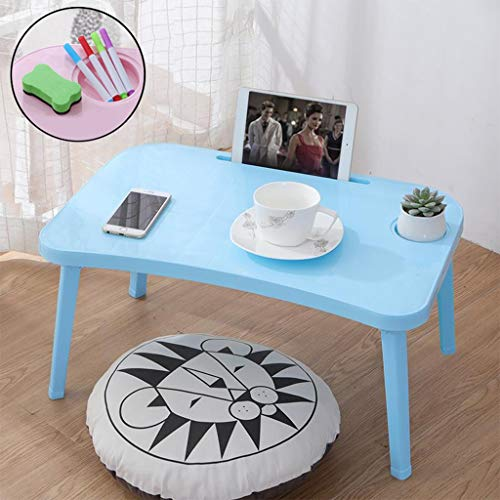 Portable Folding Bedside Table Bedroom Laptop Table, Home Office Bedside Table Mobile Medical Overbed Table Coffee Table, Student Breakfast Table Study Reading Writing Desk for Living Room (Blue)