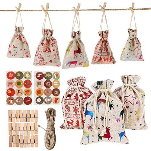UPKOCH 24 Adventskalender zum Befüllen -Stoffbeutel, Weihnachten Geschenksäckchen Weihnachten Countdown Hängen Advent Kalender Taschen Weihnachten Thema Stoff Tasche Countdown Kalender