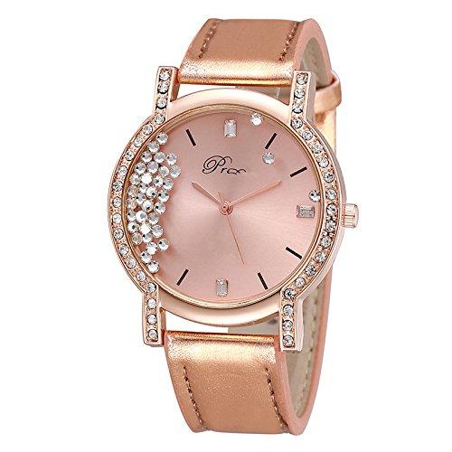 Ocamo Unisex volwassene kwarts horloge, dames polshorloge, mode luxe polshorloge van polshorloge, horloges voor dames heren meisjes jongens, vloeiende strass ronde wijzerplaat analoog kwarts horloges met lederen band - zilver roze goud