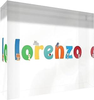 Little Helper Souvenir D/écoratif en Acrylique Transparent Poli comme Diamant Style Illustratif Color/é avec le Nom de Jeune Gar/çon Lorenzo 5 x 15 x 2 cm Petit