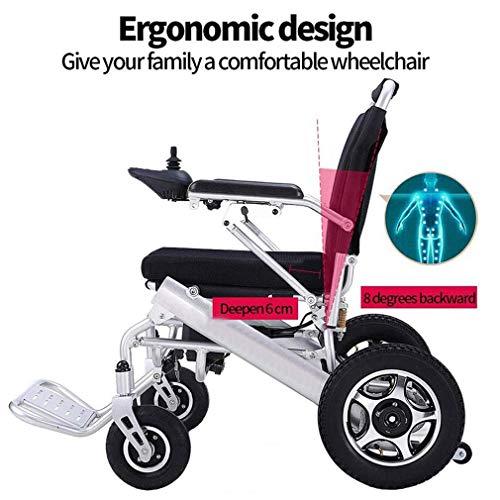WMMY Silla de Ruedas eléctrica de Aluminio Plegable, Scooter Eléctrico de 4 Ruedas para Personas Mayores Minusvalido para Personas Mayores y discapacitadas