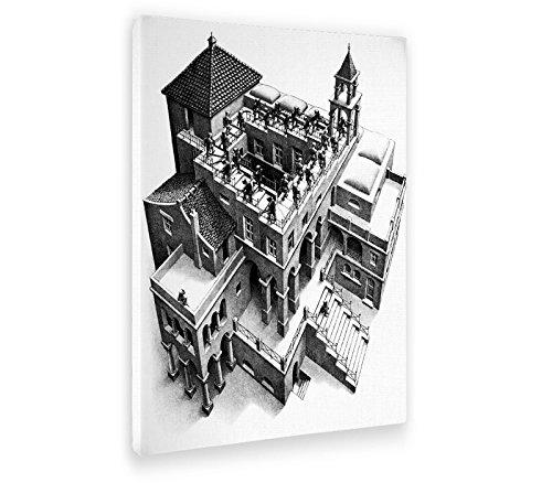 Giallobus - Cuadro - Impresion EN Lienzo - Escher - Ascendente Y DESCENDENTE - 50 x 70 CM
