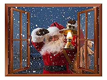 Wall26 Removable Wall Sticker/Wall Mural - Santa Claus Carrying Gifts Outside of Window on Christmas Eve - Creative Window View Home Decor - 36 x48