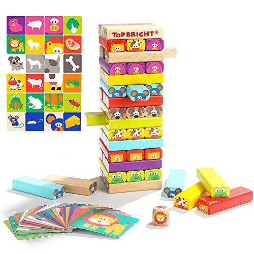 kabinga 51 Piezas de Bloques de construcción Coloridos Juegos de Mesa Apilados, Juguetes educativos de Madera de ladrillo Alto para niños de 4 a 8 años, Unisex-Baby, Small