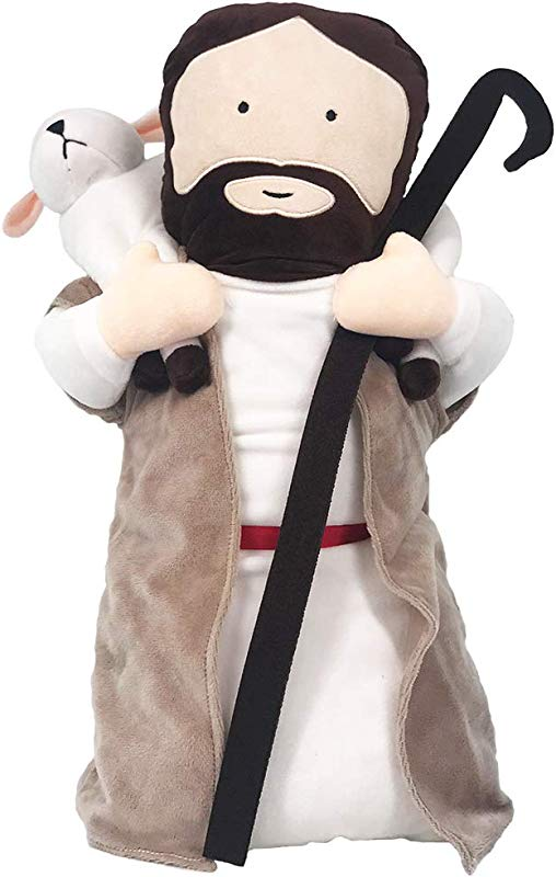 Nooer Stuffed Soft Plush Jesus Doll Lift The Sheep Toy Pillow 21 Inch Tall
