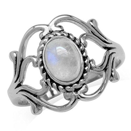 Silvershake Natural Moonstone 925 Sterling Silver Victorian Style Rope Ring Size 5.5
