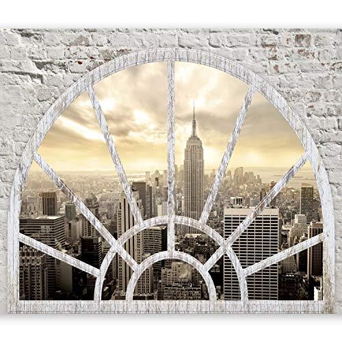 murando Fototapete Fenster nach New York 350x256 cm Vlies Tapeten Wandtapete XXL Moderne Wanddeko Design Wand Dekoration Wohnzimmer Schlafzimmer Büro Flur City Stady New York Fenster d-A-0043-a-b