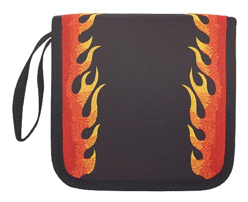 Flames CD DVD Blu Ray Disc Holder for Easy CD Storage Red and Black