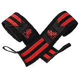 鬼リストラップIPF公認 60cm 左右セット 赤 レッド リストバンド 筋トレ フィットネス (赤, 60cm)