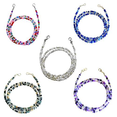 TACT BESU 5 Stück Gesichtsmasken Lanyard, Brillenkette Damen Bunte Perlen Maskenband Maskenkette für Frauen Männer Kinder 70cm