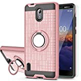 Nokia 3.1A (AT&T) Case,Nokia 3.1C (Cricket Wireless) Case with HD Screen Protector,YmhxcY 360 Degree Rotating Ring & Bracket Dual Layer Shock Bumper Cover for Nokia 3.1A 5.45'-ZH Rose Gold