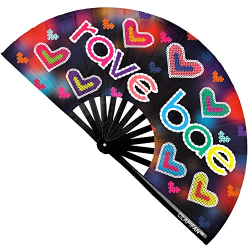 ClapFan Rave Bae Rave Fan, Large Bamboo Loud Clack Folding Hand Fan for EDM, Music Festival, Club, Event, Party, Cruise, Dance, Performance, for Men/Women, 13 inch (Black)