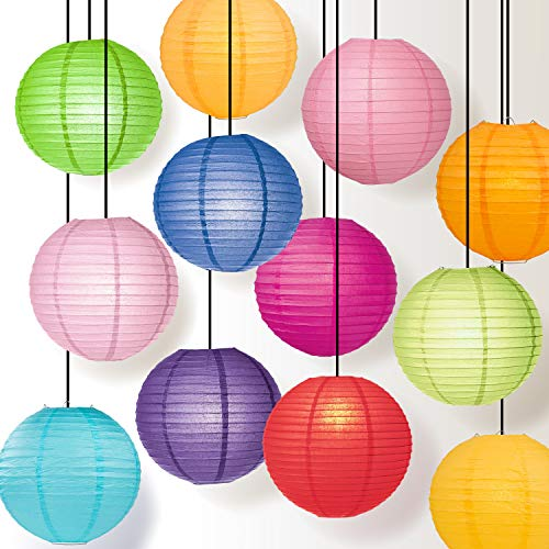 Luna Bazaar Paper Lanterns (8-Inch, Parallel Style Ribbed, Multicolor, Set of 12) - Rice Paper Chinese Japanese Hanging Decorations for Homes, Parties, Weddings, Christening, Proms, Events