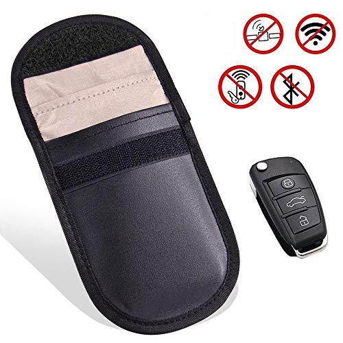 KOOLSEY スマートキー 電波遮断ポーチ リレーアタックによる車の盗難防止 カーセキュリティ ブロッキングポーチ 防犯対策 スキミング防止 高級皮革 カーボン調 ブラック (スタイル2)