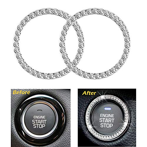 Earthland 2Pcs Crystal Rhinestone Ring for Car Interior Decoration, Auto Engine Start Stop Crystal Ring Decoration for Vehicle Ignition Button-Silver