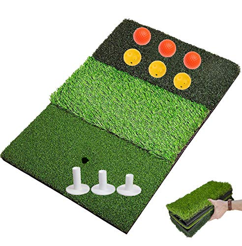 "FINGER TEN Golf Hitting Mats for Backyard Turf Grass Chipping Mat with Practice Balls Tees, Portable Rough Putting Green Pad for Driving Range Indoor Outdoor Training (Tri-Turf (16.14"" x24.4""))"