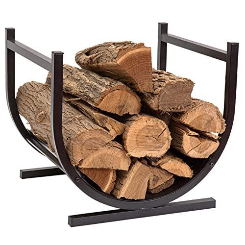 DOEWORKS Log Storage Firewood Racks Small Decorative Log Holders for Fireplace, Heavy Duty Steel, Indoor/Outdoor, Black