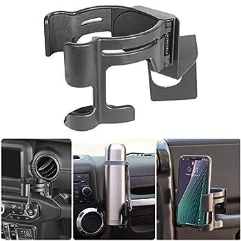 JIALIN Wrangler JL Multi-Functional Drink Cup Phone Holder,2-in-1 Bolt On Bracket Organizer for JL Wrangler 2018 2019 2020 2021 Suitable for Various Mobile Phone Models