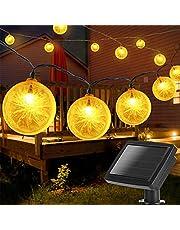 Aigostar-Led-lichtsnoer op zonne-energie, LED Bulbs Solar Tuin Verlichting,Waterproof Lichtketting voor Buiten, Balkon, Tuin, Party, Kerst, Warm Wit