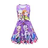Girl Princess Dresses Costume Size 7 Party Cosplay Dress Up Little Girls Summer Outfits Floral Clothes Wedding Easter Birthday Gift 140cm Purple