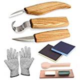 PRUGNA Wood Carving Tools Set for Spoon, Kuksa, etc. Carving Kit Contains 3 Knives, Sanding Sponges, Whetstone, Strop and Polishing Compound - with Exquisite Portable Case