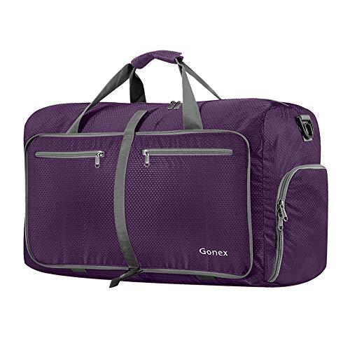 Gonex Bolsa de Viaje 60L, Plegable Ligero Bolso Equipaje Maleta Grande Bolsas Deportes Gimnasio Maletas de Mano Impermeable Duffel Travel Bag para Hombres y Mujeres Fin de Semana