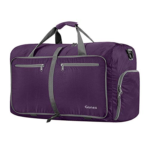 Gonex 60L Foldable Travel Duffle Bag for Luggage, Gym, Sport, Camping, Storage, Shopping Water & Tear Resistant Purple