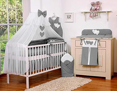 Ciel de lit en moustiquaire grand format Coeur gris anthracite - Fabrication européenne