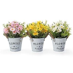 GoMaihe Pequeña Margarita Artificiales Decoración Jarrones, Flores Artificiales Decorativas Maceta 3Pcs, Plantas…