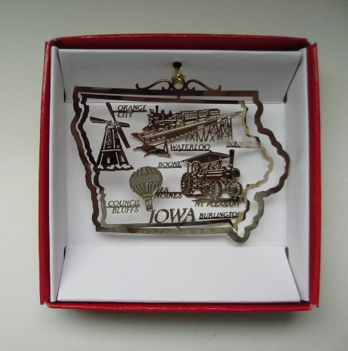 Nations Treasures Iowa State Brass Christmas ORNAMENT Souvenir Gift