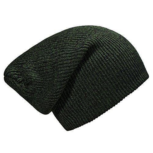 DonDon gorro de invierno para hombres y mujereso slouch beanie diseño clásico moderno Verde - Negro