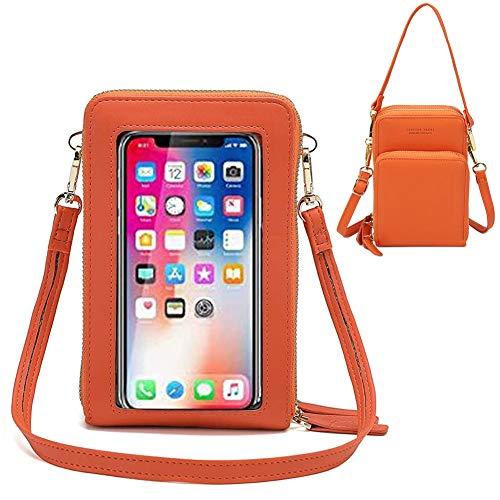 Crossbody Handy Geldbörse Umhängetasche Frauen Touchscreen Handytaschen RFID Blocking Handtasche Schultertasche Schultergurt Damen mit Kartenfächer für iPhone 11 XR X 8 7 Plus Huawei Samsung bis 6.5
