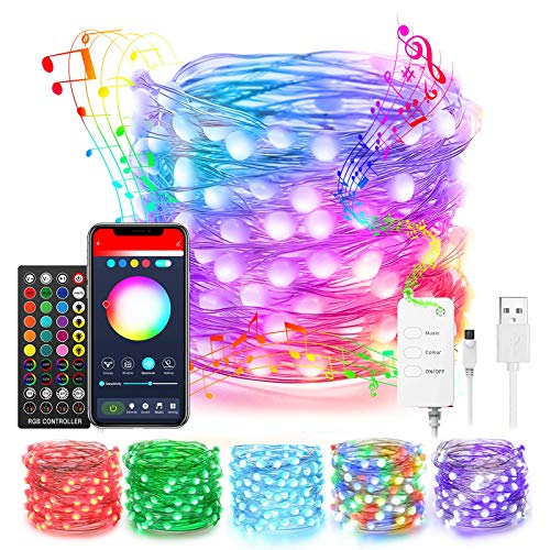 Popotan Alexa Christmas Fairy Lights 33ft Dreamcolor 100LEDs Fairy String Lights Work with Echo Google Home, App Controlled, Music Sync, USB Plug in RGBIC Twinkle Lights for Indoor Outdoor Decor