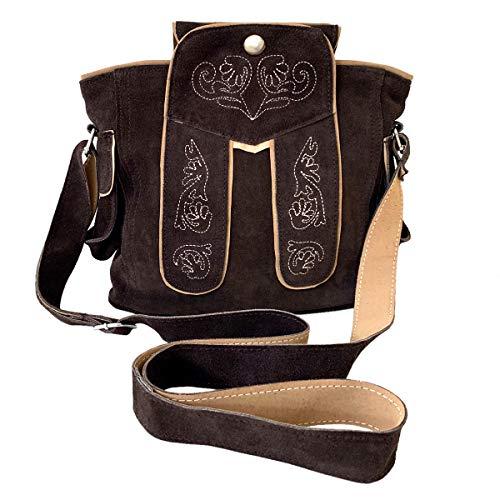 Trachtentasche Dirndltasche Lederhosen-Tasche Umhängetasche Wild-Leder Dunkelbraun